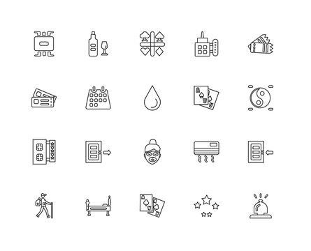 Collection of 20 Accommodation linear icons such as Stars, Recep