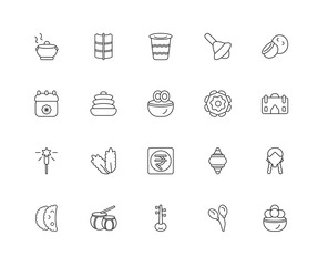 Collection of 20 India and Holi linear icons such as,