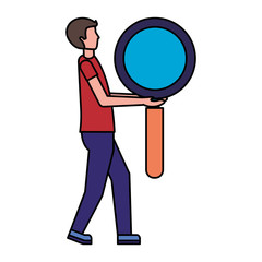 man holding big magnifying glass