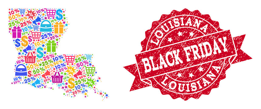 Black Friday composition of mosaic map of Louisiana State and rubber stamp. Vector red imprint with distress rubber texture with Black Friday caption. Flat design for advertisement posters.