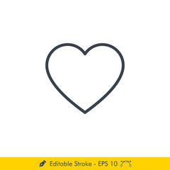 Heart (Love) Icon / Vector - In Line / Stroke Design