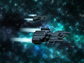 Space scene with original 3D spaceship