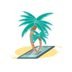 travel vacation with tree palms icon vector ilustration