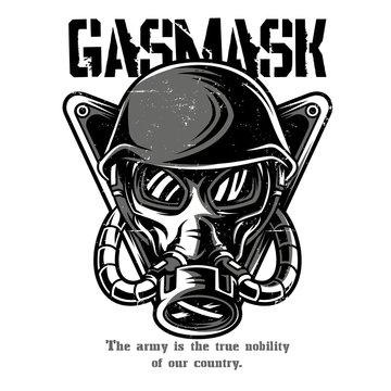 Gas Mask Black n White Illustration
