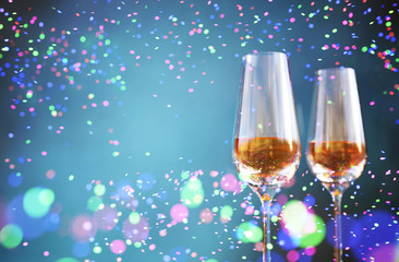 Glass of champagne with Abstract colorful blurred lights for festive background design,3d illustration