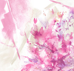 Watercolor bouquet of flowers, Beautiful abstract splash of paint, fashion illustration.Orchid flowers, poppy, cornflower, pink, purple, peony, rose, field or garden flowers. Watercolor abstract.