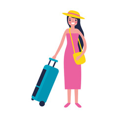 tourist woman with travel suitcase vacations