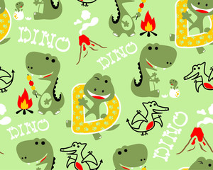 Vector of seamless pattern with dinosaurs cartoon