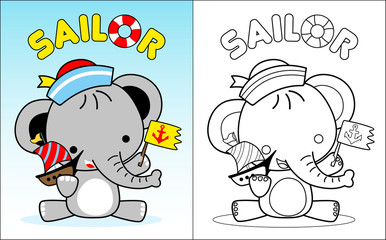 coloring book vector with little elephant cartoon the sailor