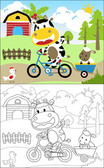 coloring book vector with funny animals in farm field