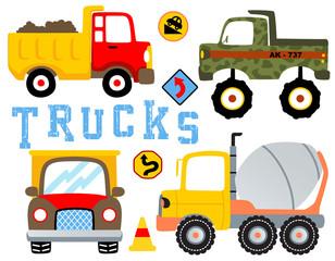vector set of trucks cartoon