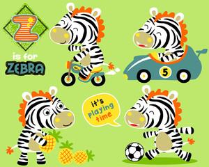 Vector set of zebra cartoon with toys
