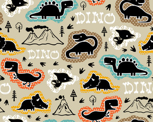 seamless pattern vector with dinosaurs silhouette cartoon