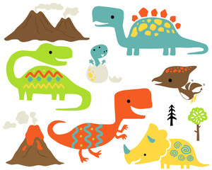 Vector set of dinosaurs cartoon with volcanoes, trees.