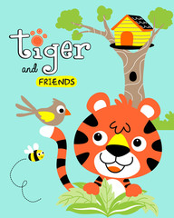 Vector of tiger cartoon with little friends