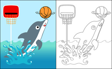 coloring book vector with dolphin the basket player