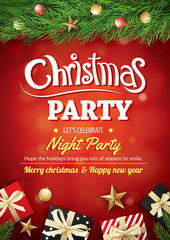 Merry christmas party gift box and tree on red background invitation theme concept. Happy holiday greeting banner and card design template.