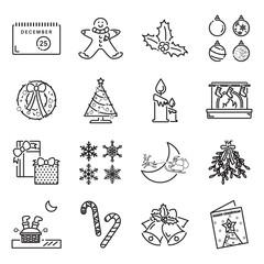 Christmas theme line icons