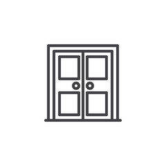 Architectural door outline icon. linear style sign for mobile concept and web design. Double door simple line vector icon. Symbol, logo illustration. Pixel perfect vector graphics