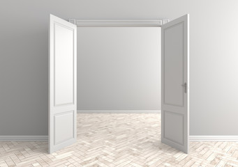 Empty room with open door. Scandinavian interior. 3d illustration.