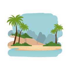 beach seascape scene icon