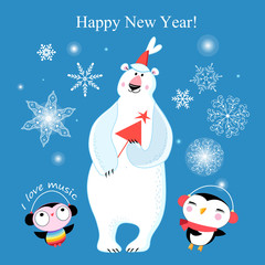 Congratulatory New Year's merry greeting card with a polar bear