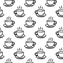 Seamless pattern hand drawn cup of coffee. Doodle black sketch. Sign symbol. Decoration element. Isolated on white background. Flat design. Vector illustration