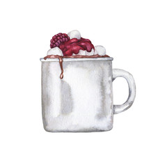 White mug of cocoa, coffee or hot chocolate witn marshmallow and fresh raspberry and syrup isolated on white background. Hand drawn watercolor illustration.