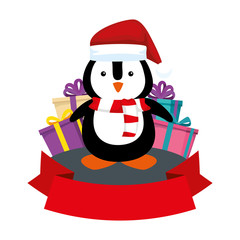 cute penguin with santa claus hat and gifts