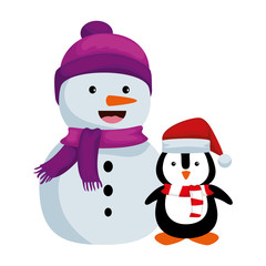 cute snowman with penguin christmas characters