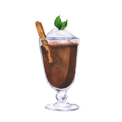 Glass of cocoa, coffee or hot chocolate witn fresh mint, cream, cinnamon isolated on white background. Hand drawn watercolor illustration.