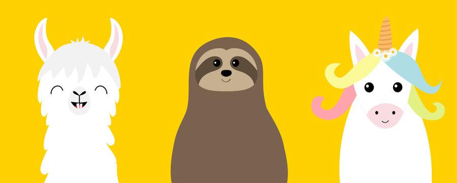 Alpaca, llama, sloth, unicorn set. Cute cartoon funny kawaii character. Childish baby collection. T-shirt, greeting card, poster, banner template print. Flat design. Yellow background.