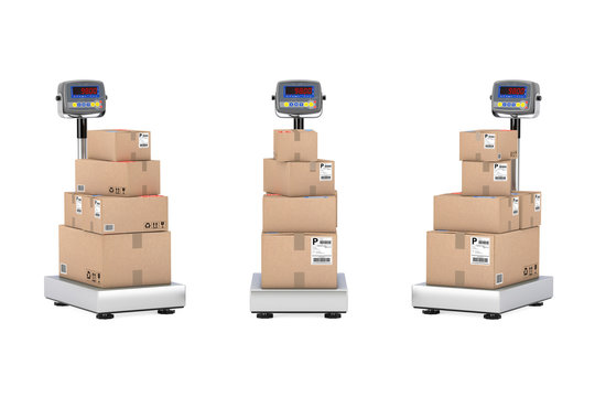 Stacked Cardboard Boxes Parcels over Warehouse Digital Cargo Scales. 3d Rendering