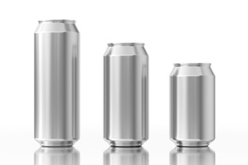 Blank Aluminum Cans with Free Space for Your Design. 3d Rendering