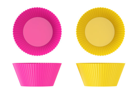 Pink and Yellow Colorful Cupcake Silicone Cups. 3d Rendering