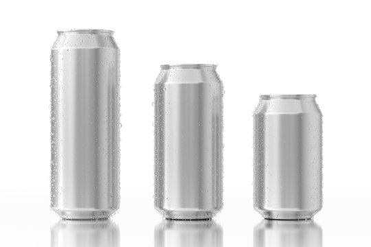 Set of Blank Aluminum Cans with Water Drops. 3d Rendering