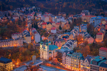 Beautiful view over colorful houses in Karlovy Vary, a spa town in Czech Republic in autumn season Wall mural