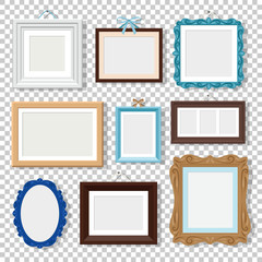 Classic photo frames. Vectors vintage wood frames isolated on transparent, old design empty square and round photo frame set