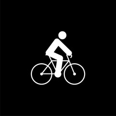 Bicycle fitness line art logo, bike icon on dark background