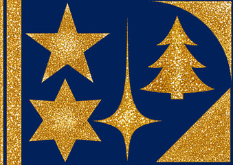 Christmas Glitter Design Elements on Blue Background - Set 3 of 3 for Your Graphics Projects with High Details, Vector Illustration