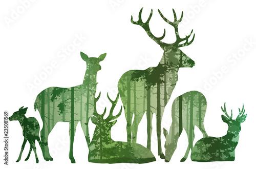 Wall mural herd of deer silhouette