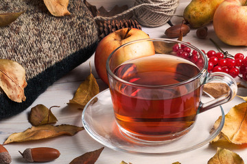 A Cup of tea, autumn leaves
