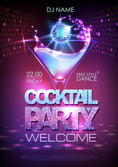 Neon Disco cocktail party poster.