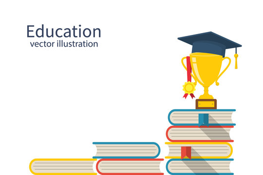 Education ladder concept. Top of the piles of books. Cup with an academic cap and a medal on top. Achievement goals in learning and success. Stairs knowledge.