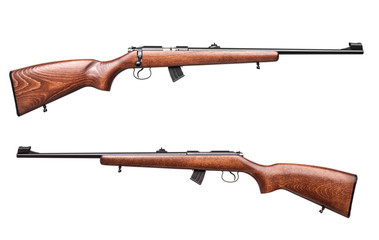 wooden hunting rifle isolated on white