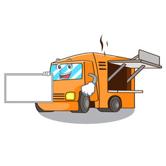 With board rendering cartoon of food truck shape