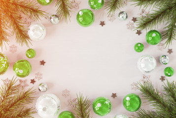 Christmas card mockup with green baubles 3D rendering