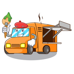 Artist rendering cartoon of food truck shape
