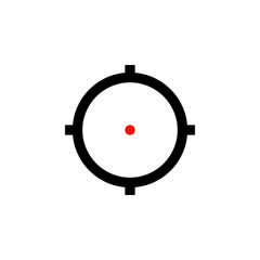 AR sniper target aim icon with red dot.