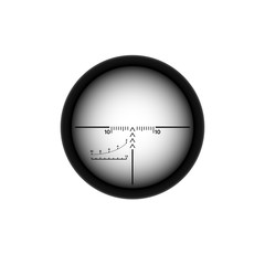 Sniper scope crosshairs. Rifle aim icon. Weapon viewfinder.